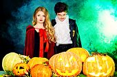 image of traditional attire  - Children at the Halloween party - JPG
