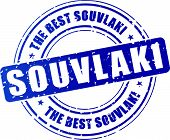 stock photo of souvlaki  - illustration of blue souvlaki stamp on white background - JPG