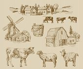 pic of farm landscape  - vector seamless farm and animals hand drawn set - JPG
