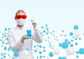 picture of respirator  - Young doctor in respirator holds a glass beaker on molecular compound background - JPG