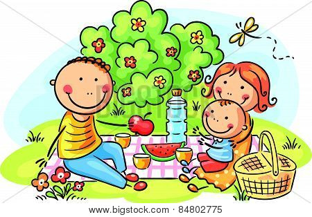 Family having picnic outdoors