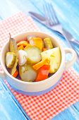 picture of pickled vegetables  - pickled vegetables in a bowl on the kitchen table - JPG