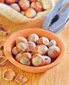 pic of cobnuts  - hazelnuts in bowl and on a table - JPG