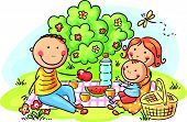 picture of drawing  - Cartoon family having picnic outdoors - JPG