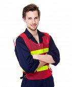 stock photo of fluorescence  - Construction worker with fluorescent vest - JPG