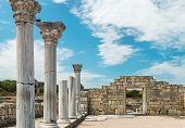 stock photo of greek  - Ancient Greek basilica and marble columns in Chersonesus Taurica - JPG