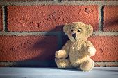 stock photo of teddy  - the teddy bear sit in front of a brick wall - JPG