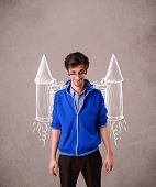 stock photo of jet  - Cute young man with jet pack rocket drawing illustration - JPG