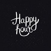 stock photo of dots  - Happy Hours Phase in Simple White Font Style on Abstract Black Background with Dots - JPG