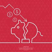 stock photo of currency  - Broken pig piggy bank - JPG