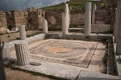stock photo of greek  - Ancient Greek ruins at the archaeological island of Delos Cyclades Greece - JPG