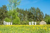 stock photo of cemetery  - Cemetery is the Central memorial to all who died in captivity on the territory of the Ivanovo region - JPG