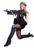 foto of assault-rifle  - Woman in a military camouflage sitting with the assault rifle isolated over white background - JPG