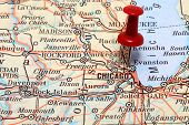 picture of usa map  - Pin pointing on Chicago on USA map - JPG