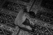 picture of muslim man  - Muslim Man Is Praying In The Mosque - JPG