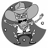 stock photo of gunslinger  - Wild West a skeleton dressed as a cowboy pistol shooting traces of bullets - JPG