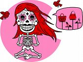 picture of skeleton  - Human skeleton of a woman meditating sitting in a pose of  - JPG