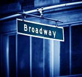stock photo of broadway  - Broadway sign with added vignette in Times Square New York - JPG