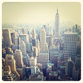 pic of skyscrapers  - View over the skyscrapers of Manhattan - JPG