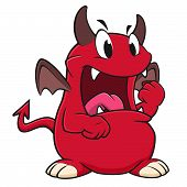 stock photo of clenched fist  - Vector illustration of an angry red devil clenching its fist - JPG