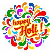 stock photo of holi  - Colorful festive Holi splash abstract background with Holi lettering - JPG