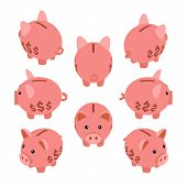 pic of piggy  - Isometric piggy bank - JPG