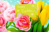 stock photo of bouquet  - Easter bouquet of spring flowers with greeting card - JPG