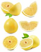 stock photo of pomelo  - set of Pomelo or Chinese grapefruit isolated on the white background - JPG