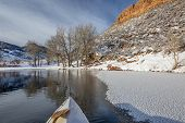 picture of horsetooth reservoir  - winter canoe paddling on Horsetooth Reservoir near Fort Collins in northern Colorado - JPG
