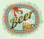 pic of drawing beer  - Vintage grunge style beer poster - JPG
