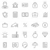 picture of bank vault  - Bank line icons set - JPG