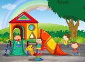 foto of playground  - Children playing in the playground - JPG