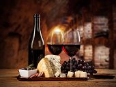 image of wine cellar  - Various kind of cheese with red wine in cellar - JPG