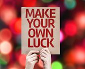 image of feeling better  - Make Your Own Luck card with colorful background with defocused lights - JPG