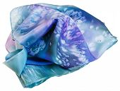 foto of batik  - silk scarf painted by blue batik isolated on white background - JPG