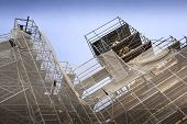 picture of scaffold  - Scaffolding on a restoration site in a French city - JPG