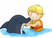 foto of dolphins  - Illustration of a Little Boy Playing With a Dolphin - JPG