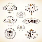 stock photo of food logo  - Label and logo set for restaurant menu design - JPG