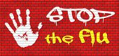 foto of flu shot  - flu vaccination shot stop the virus vaccine for immunization graffiti on red brick wall - JPG
