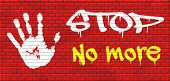 foto of stop fighting  - no more pain suffering disappointment, last time never again stop forever grafitty on red brick wall, text and hand graffiti on red brick wall, text and hand  - JPG