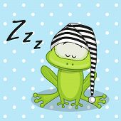 image of baby frog  - Sleeping Frog in a cap on a blue - JPG