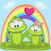 stock photo of baby frog  - Valentine card with Lovers frogs on a rainbow background - JPG