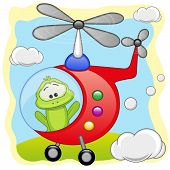 picture of baby frog  - Frog is flying in a red helicopter - JPG