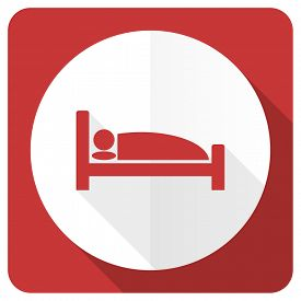 image of flat-bed  - hotel red flat icon bed sign  - JPG