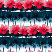 stock photo of hibiscus  - Tropical hibiscus flowers in a seamless pattern with blue palm trees  - JPG