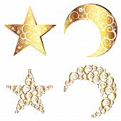 picture of crescent  - Decorative crescent moon and star made with swirls - JPG