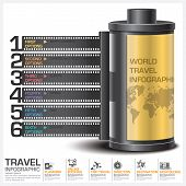 image of continent  - Travel And Journey Business Infographic With Continent Film Diagram Concept Vector Design Template - JPG