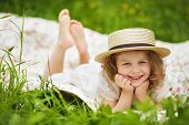 image of girlie  - Happy girl in the hat is laughing and having fun - JPG