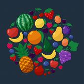 stock photo of blackberries  - Vector Fruits and Berries Flat Style Icons Set in Circle Shape over Dark Background with Apple - JPG