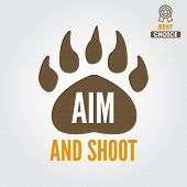 Logo, emblem, label or logotype elements for hunting club, shooting club poster